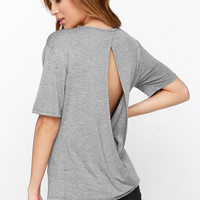 Slit the Big Time Heather Grey Top