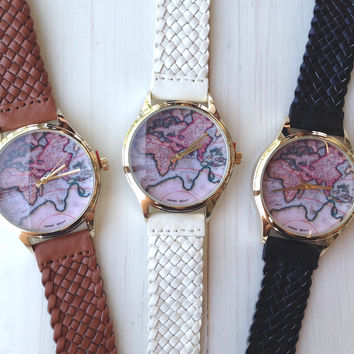 World Map Braided Band Watch