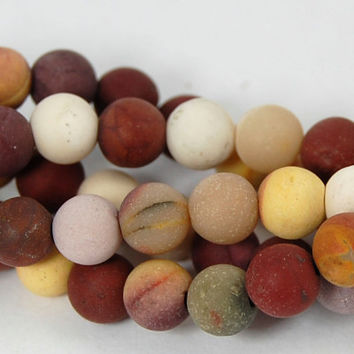 Matte Mookaite Jasper Frosted 6mm  -15 inch strand