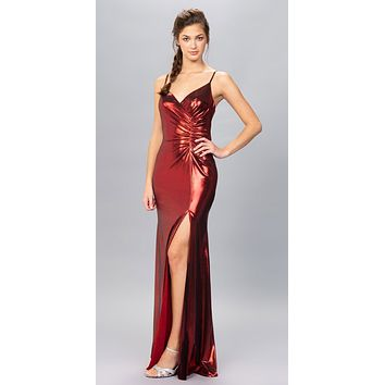 Burgundy Ruched Bodice Metallic Long Prom Dress with Slit