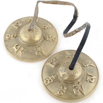 Giftboxed Tingsha Cymbal Set - With Om Mani Padme Hum Characters