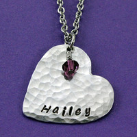 Personalized Heart Necklace - Handstamped Hammered Heart with Birthstone
