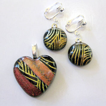 Dichroic Glass Heart Pendant and Dange Clip On Earrings 0n Earrings by mysassyglass