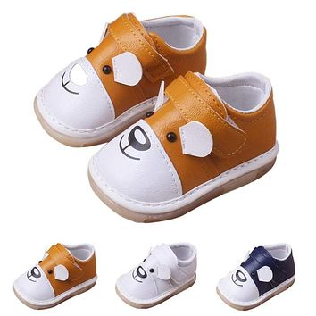 Baby Shoes Leather Casual Flats Shoes Cartoon Animal Theme
