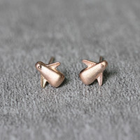 Rose Gold Plated Penguin Stud Earrings Sterling Silver by Fashnin.com