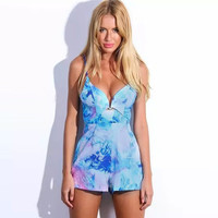 Shading Color Print Spaghetti Strap Cut Out Romper