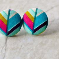 Boho Earrings,Stud Earrings, Boho Tribal, Contemporary Jewelry,  Fabric Earrings, Boho Earrings, Striped Earring Studs, Tribal Earrings