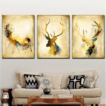 Triptych Nordic Abstract Artistic Deer Elk Canvas Painting Giclee Animal Art Paintings Poster Wall Picture For Living Room