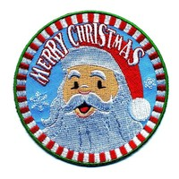 "Embroidered Iron On Patch - Merry Christmas Santa Claus 3.5"" Patch"