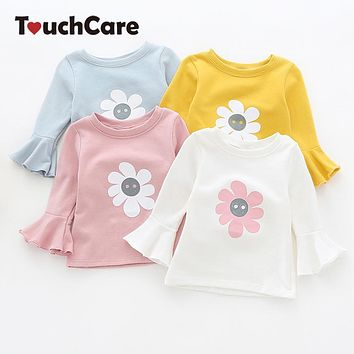 Clearance Newborn Solid Sun Floral Print Baby Girl T-shirt Lotus Leaf Sleeve Baby Girl T Shirt Autumn Infant Baby Girl Clothes