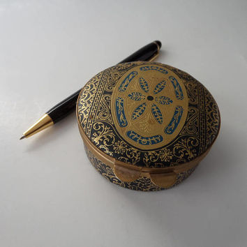 Florentine Tooled Leather Style Italian Trinket Box, Black with Ornate Gold & Blue Embossed, Vintage