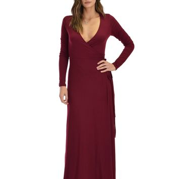 Lyss Loo Celestial Long Sleeve Burgundy Wrap Maxi Dress