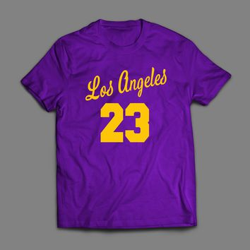 "LOS ANGELES #23 ""LEBRON JAMES"" CUSTOM ART T-SHIRT"