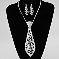 Silver Neck Tie Statement Necklaces