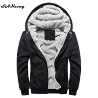Hoodies Sweatshirt Men  Autumn Winter Warm Thick Solid Casual Brand Tracksuit Men's Sweatshirts Hooded Plus Size 4XL