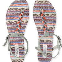 Mixed Print Braided T-Strap Sandal