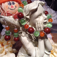 16#       Brown , Green And Orange Autumn Earrings And Bracelet.