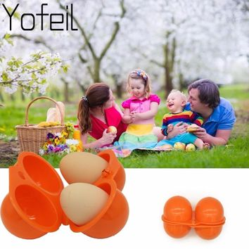 Brand new Outdoor Camping Hiking Picnic kitchen For  Portable storage Case holder Plastic Container Convenient Two Eggs Box
