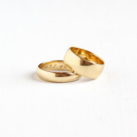 "Vintage 14k Yellow Gold ""1948"" His and Her Original Wedding Band Ring Set - 1940s Size 5 & 8.5 Retro Wide Cigar Fine Bridal Jewelry"