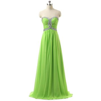 In Stock Beading Pleat Sweetheart Lace-up Back A-Line Chiffon Bridesmaid Dresses