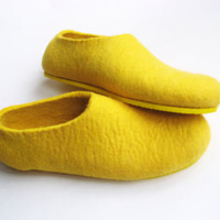 Felted Shoes Yellow with Yellow Sole Color LEMON GOLD by ekohaus