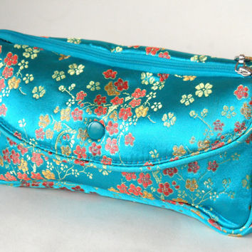 Silk Cosmetics Bag -  3 sections - Teal padded Chinese blossoms floral design embroidery effect, very pretty, vintage retro Toiletry Bag