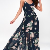 Feeling Freesia Navy Blue Floral Print Maxi Dress