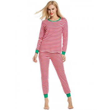 Women Casual Round Neck Long Sleeve Striped Thermal Pajama Set