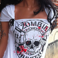 Bloody Skull and Gun Zombie Hunter Shredded Shirt
