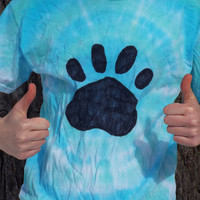 Adult Pawprint Shirt- Pawprint Tshirt- Tie Dye Paw Print Shirt- Paw Print Tshirt- Dog Lover Shirt- Cat Lover Shirt- Animal Lover- Bear Paw