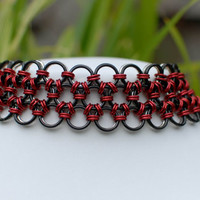 Japanese Lace Reversible Black and Red Choker Collar- Ready To Ship