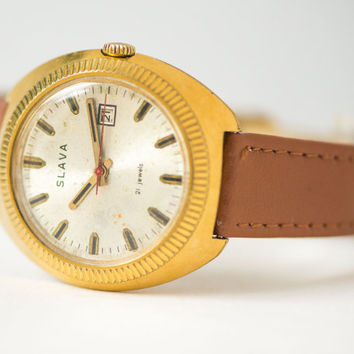 Gold plated men's watch Glory chunky men's watch modern 21 jewels gift him accessory leather strap caramel shade