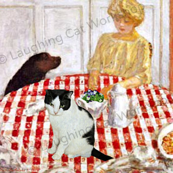 Cat art print Dog art Hound lab Spring decor Bonnard red checker lunch kitchen dining room wall art decor Easter spring custom pet portrait