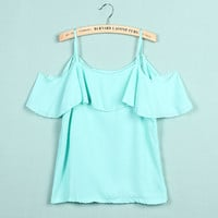 'The Lauren' Lotus Leaf Off Shoulder Chiffon Blouse