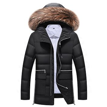 Long Thicken Warm Natural Fur Collar Winter Down Jacket Men