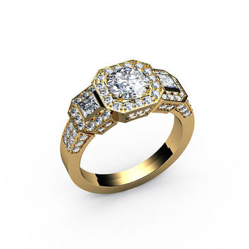 Diamond Ring, Engagement ring,, 2 carat ring, Micropavé, frame, 3-stone, 18K gold,White gold, Yellow gold, Rose gold