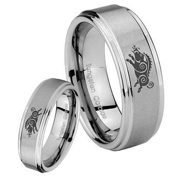 His Hers Wild Boar Step Edges Brushed Tungsten Men's Wedding Band Set