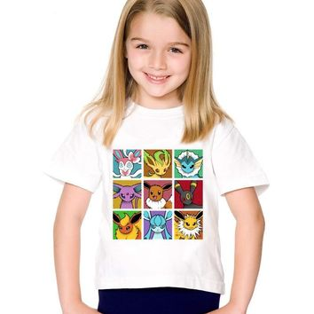 Pop Eeveelutions  Go Children T-shirts Kids Go Spirits Gotta Fit Them All Summer Tee Boys/Girls Tops Baby Clothes,HKP5091Kawaii Pokemon go  AT_89_9