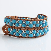 Blue Turquoise And Silver Mix Wrap Bracelet
