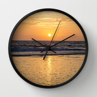 Sunset Over The Ocean Wall Clock by Maureen Bates Photography