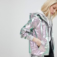 Only Metallic Festival Rain Jacket at asos.com
