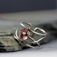 Cherry Blossom Cuff Ring, Adjustable, Size 6.5 - 7, Mothers Day jewelry, twig ring, gifts for mom, Sakura band ring, dainty but bold