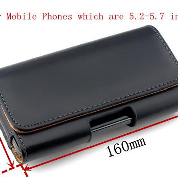 "HATOLY Genuine Leather Case For iPhone 6 Plus Belt Clip Holster For 5.2""-5.7"" Mobile Phone Pouch Cover For iPhone 6 Plus <"