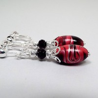 Clip on Earrings, Dark Pink Black and Metallic Silver Drop Earrings, Silver Plated, Made with Vintage Lucite Beads, Swirled Marbled