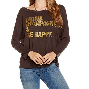 Drink Champagne & Be Happy Long Sleeve Tee