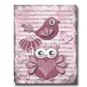 Baby girl wall art, baby girl room decor, children wall art, kids room art, music paper art, red nursery owl, victorian nursery wall art