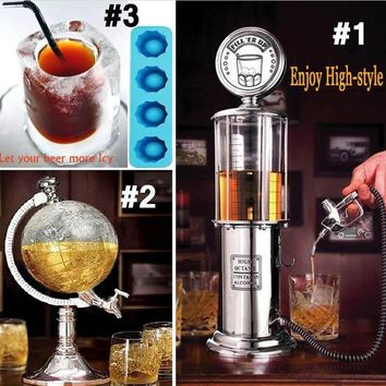 Mars 900ml Antique Retro Gas Pump Whiskey Bourbon Liquor Dispenser for Wine Globe Shaped Beverage Papa Gifts For Men