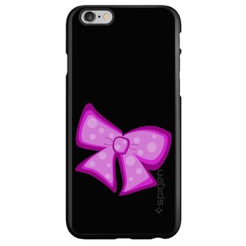 DistinctInk® Spigen ThinFit Case for Apple iPhone or Samsung Galaxy - Pink Black Bow Ribbon