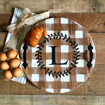 Buffalo Plaid Round Serving Tray,Monogram Tray,Personalized Serving Tray,Buffalo Plaid Tray,Serving Tray,Country Kitchen,Farmhouse Kitchen