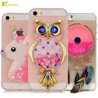 Unicorn Glitter Liquid Case for iPhone 5 Cover for iPhone 5s Cases Dynamic Cute Cartoon OWL Soft Cases for iPhone X 6s 7 8 Plus